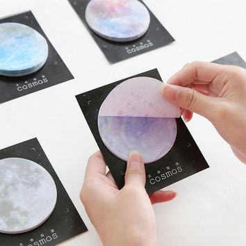 Cute Kawaii  Sticky Paper Star Memo Pad  Space Planet Post It Notes For Students Gift Korean Stationery Office School Supplies