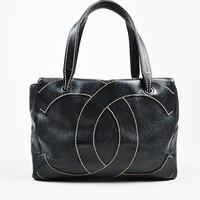 Chanel Black Tan Pebble Leather Stitch 'CC' Logo Flat Handle Tote Bag