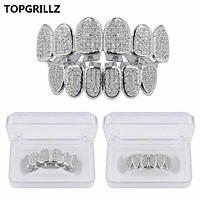 TOPGRILLZ Hip Hop Gold Color Plated Teeth Grillz Caps CZ Micro Pave Exclusive Luxury Top&Bottom Gold Grillz Set Ship From US