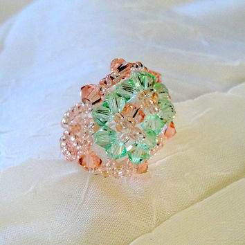 Delicate  HandCrafted One of a Kind Pastel Crystal Seed Bead Crocheted Ring