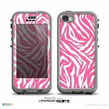 The Pink & White Vector Zebra Print Skin for the iPhone 5c nüüd LifeProof Case