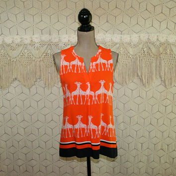 Giraffe Shirt Sleeveless Summer Top Rayon Novelty Print Blouse Animal Shirt Rayon Orange Black Medium Vintage Clothing Womens Clothing