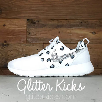 Nike Roshe One Customized by Glitter Kicks - White/Black Leopard Print