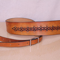 Vintage - Hand Tooled - Brown Leather - Adjustable Buckle - Guitar Strap - Boho - Hippie