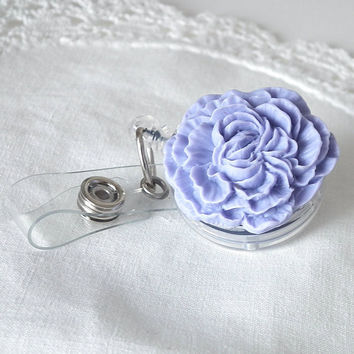 Retractable Badge Reel Violet Carnation on Clear Reel with Alligator Clip