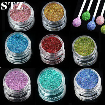 STZ 12 Colors Laser Sequins Dust Tips Nail Art Glitter Powder Dust Tips for Body Craft Polish  Salon 3d Nail Art Decors L01-16