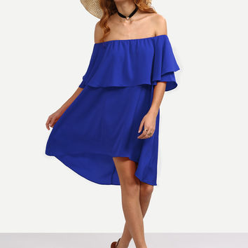 Blue Off Shoulder High Low A-Line Dress