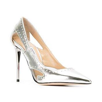 Jimmy Choo Vienna 100 Silver Studded Pumps