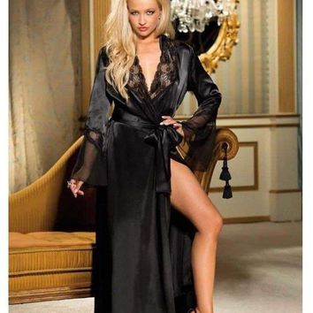 Elegant Shirley of Hollywood IS-SOH-20559 Long Robe Charmeuse-Chiffon, Black, S/M