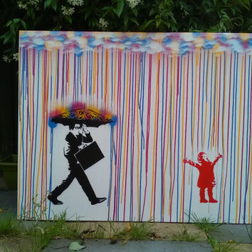 Childhood,singing in the rain,canvas painting,stencil art,pop art,man,girl,umbrella,spray paint art,handmade,graffiti,rain,design,clouds,