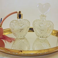 Vintage Heart Vanity 'Forever Love' Perfume Bottles and Mirror Tray