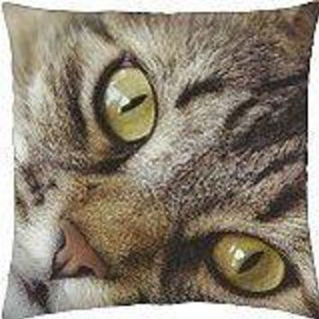 A face of a tabby cat - Throw Pillow Cover Case (18