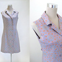 70's Dress - Vintage 1970's Dress - Double Breasted Shirt Dress - Floral Sun Dress - C&A