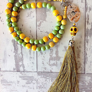 Long boho beaded tassel necklace sugar skull bead layering necklace yoga jewelry day of the dead green yellow beads long tassel