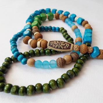 Boho Chic Long Necklace, Gipsy Style Necklace, Wood Glass Beaded Necklace, Hippie Ethnic Necklace, Eco friendly necklace, Gift for her