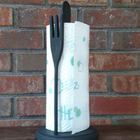 Wood Paper Towel Holder - Country Kitchen Paper Towel Holder - Rustic Paper Towel Holder - Spoon and Fork Paper Towel Holder