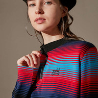 MadeMe/X-girl Striped Half-Zip Long Sleeve Top | Urban Outfitters