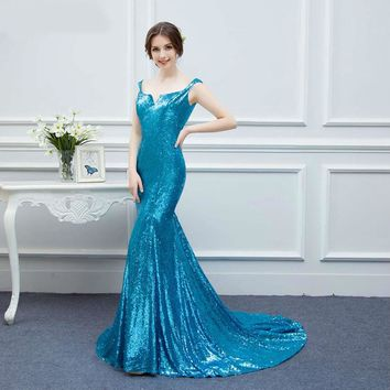Vintage Small V-cut Sequines Evening Dresses Mermaid Floor Length Long Prom Dresses Zippered Back Sparkly Evening Gown
