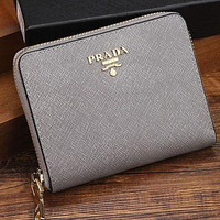 Prada women's tide brand fashion leather zipper wallet handbag F