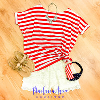Red Bold Stripe PIKO Top