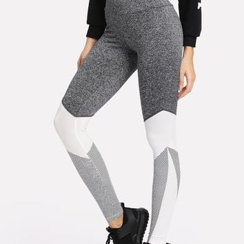 Wide Waistband Cut And Sew Fitness Leggings