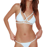 White Strappy Triangle Bikini