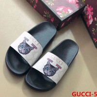 Gucci  Fashion Casual Women Man Cat Print Sandal Slipper Shoes White G
