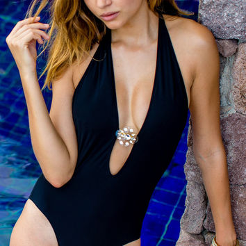 Sauvage Crystal Plunge Black One Piece Swimsuit