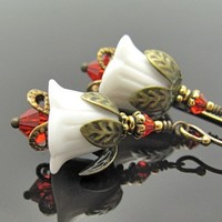 White Red Flower Earrings Vintage White Glass Swarovski Crystal Red Dangles | Hawaiibeads - Jewelry on ArtFire
