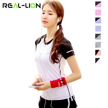 RealLion Sports Clothing T-shirt Women Short Sleeve Yoga Wear Running Tops Quick Dry Shirt Woman Gym Clothes