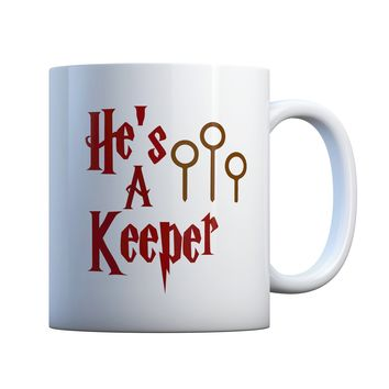 He's A Keeper Couples 11 oz Coffee Mug Ceramic Coffee and Tea Cup