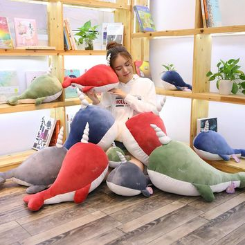 25-80cm New Narwhal Plush Toy Lovely Unicorn Whale Doll Soft Stuffed Marine Animal Fish Children Birthday Gift Home Sofa Decor