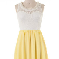 Afternoon Tea Dress with Necklace - Yellow