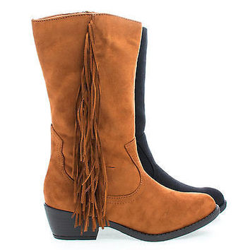 Elvo Black By Soda, Cowgirl Fringe Mid Calf Block Heel Women's Boots