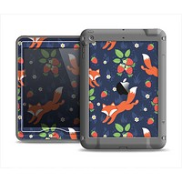 The Running Orange & Navy Vector Fox Pattern Apple iPad Mini LifeProof Nuud Case Skin Set