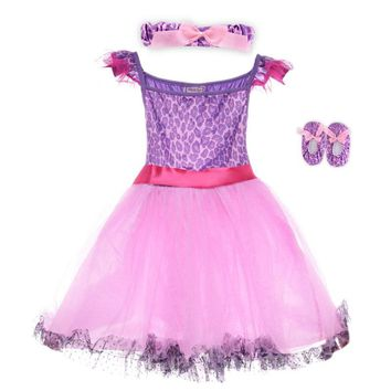 Girls Ballet Dance Dress Costume For Children Clothing Kids Ballet Dresses Toddler Baby Girl Dancewear With Shoes Hairband 4-6T