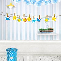 5*6.5ft Sea Theme Background Light Blue with Sea lives Backdrops for Newborn Baby Birthday Theme Backdrops for Studio CM-4446
