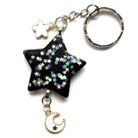 Black Star Keychain With Star and Moon Charms, Magical Girl, Pastel Goth, Gothic Lolita, Hand Bag Charms, White moon Star Jewelry, Mahou Kei
