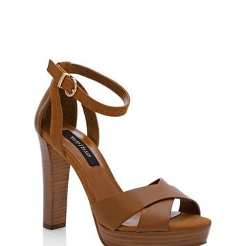 White House | Black Market Leather Criss-Cross Chunky Heels