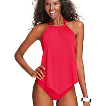 Magicsuit Angled-Hem Halter Tankini Top & Ruched Swim Brief Bottom