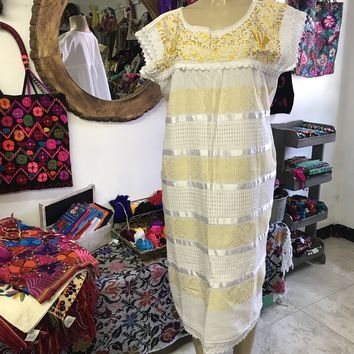 Oaxaca White Midi Loomed Dress with Yellow Embroidery