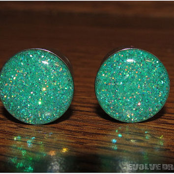 Seafoam Glitter Plugs - 3/4, 19mm