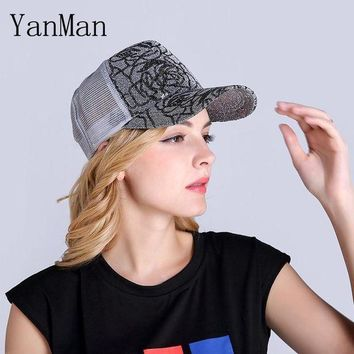 DCCKWJ7 YanMan 2017 Women Baseball Cap Fashion Shining Powder Girl Women Mesh Summer Hat Nets Ventilated Snapback Caps Mesh Sun hats
