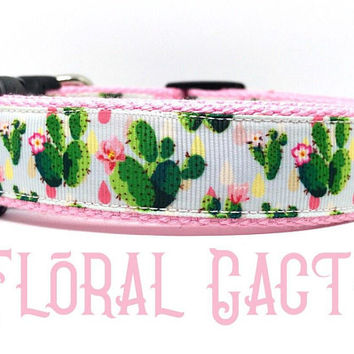 Cactus dog collar, Girl dog collar, Designer dog collar, Adjustable collar, Western dog collar, Collar, Dog collar for girls, Cactus
