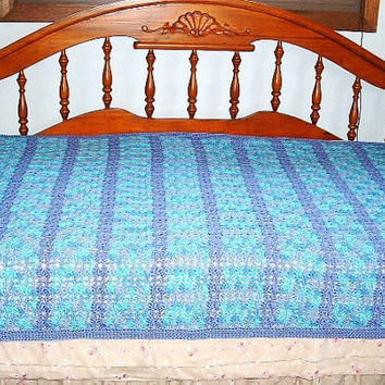 Blue Crochet Blanket Afghan Comforter Purple Handmade Twin Double Bedspread