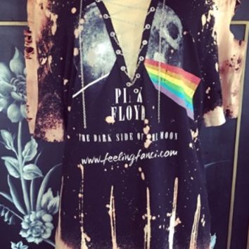 Pink Floyd distressed lace up tee