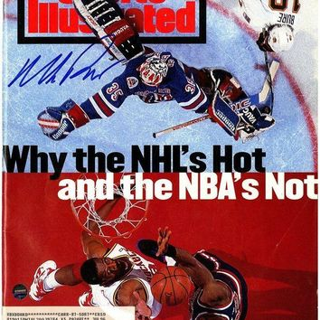 NOVO5 Mike Richter Signed with Patrick Ewing 6/20/94 Sports Illustrated Magazine