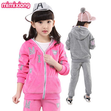 Girls Tracksuit Zip Up Hoodie Jacket + Pants Children Clothing Set Cotton Autumn Sports Suits Sportswear 2 Pcs Outfits Pink Grey