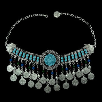 Bohemian Tibetan silver plated round charms coins tassels beads choker necklace turkish