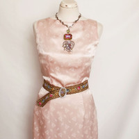 Retro satin Pink floral ladies dress small vintage fitted rose satin summer dress